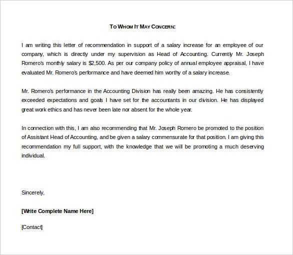 Letter Of Recommendation Template Word Reference Letter Template