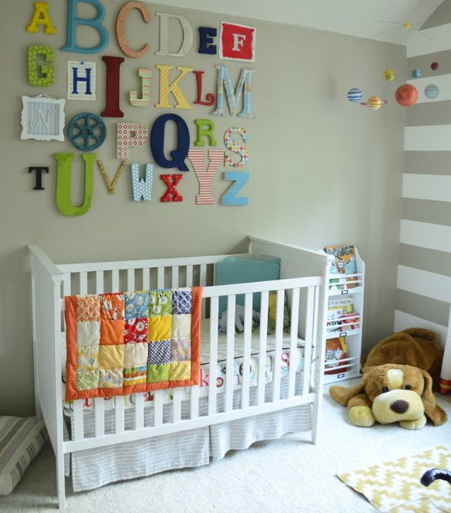 This is a great alphabet DIY for the nursery.