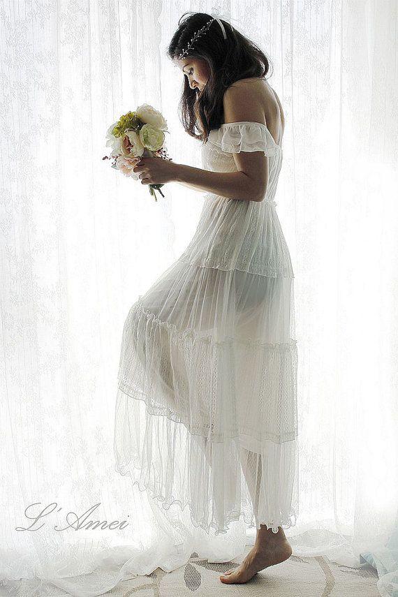 Affordable Simple Boho Style Ivory Lace Beach Wedding or Honeymoon Dress $330.86