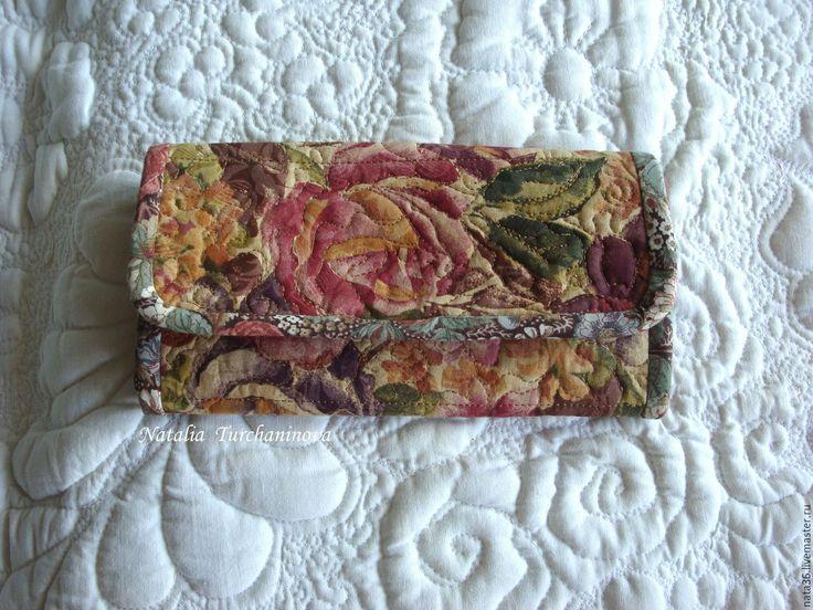 """Купить Текстильный, стеганый кошелек """" Ретро"""" - комбинированный, кошелек с розами, итальянский мотив"""