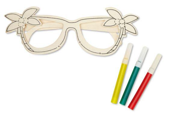 Occhiali da sole in legno da colorare con tre pennarelli inclusi su Ibiscus gadget €1.46 IVA Inclusa