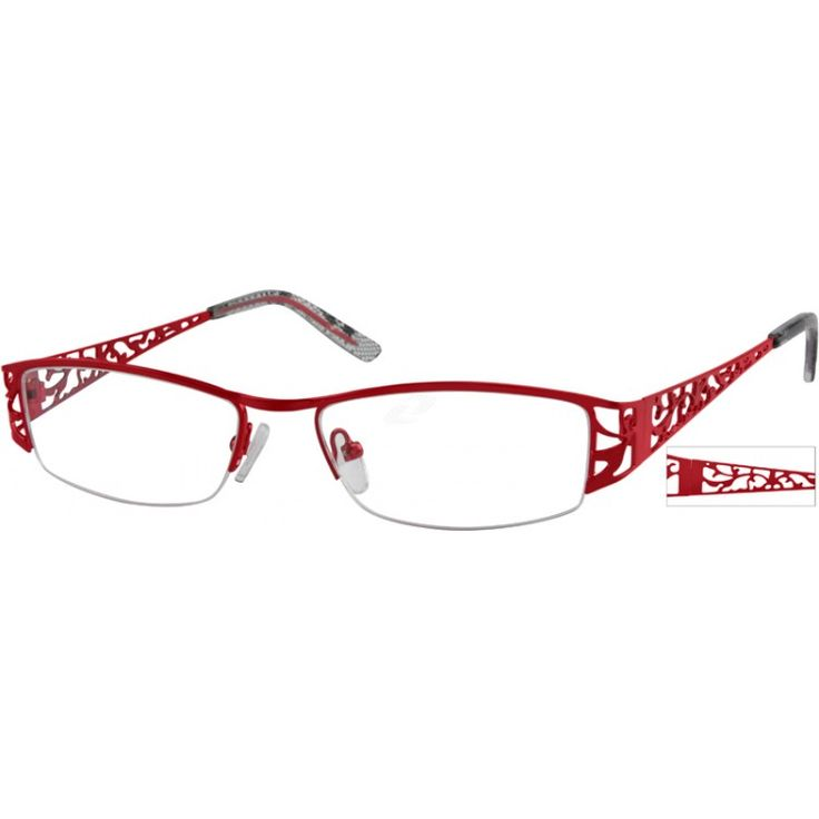 A medium size, stainless steel half-rim frame with design on temples.
