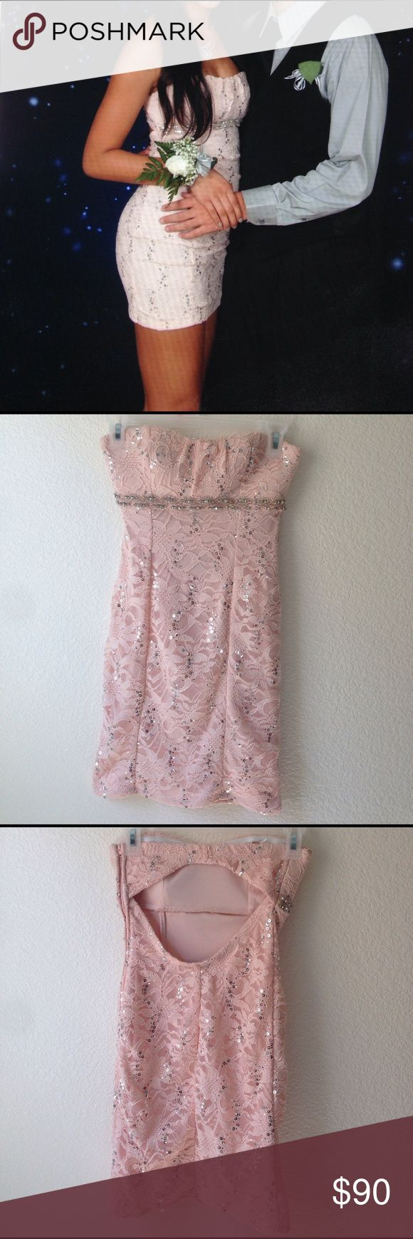 Champagne pink sparkly dress Only worn once for a formal dance. No stains whatsoever. Padded. open back w/ zipper on the side Dresses Strapless