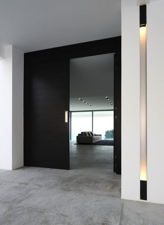 Entrance of a private villa in the South of France, clean and pure lines _like concept and flooring effect