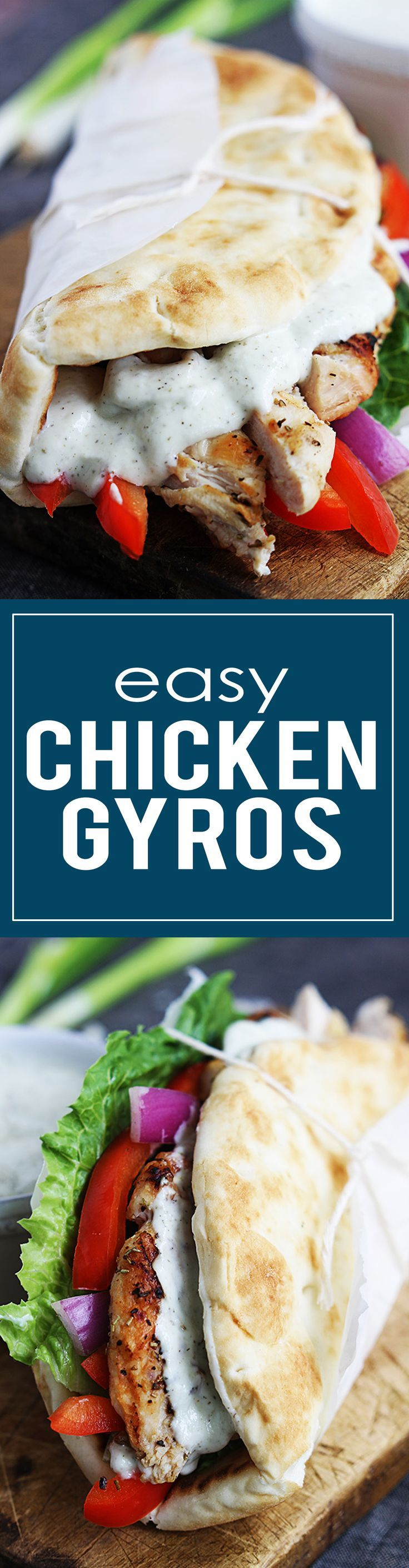 20 minute Easy Chicken Gyros with quick Tzatziki cucumber sauce are delicious, healthy, and flavorful