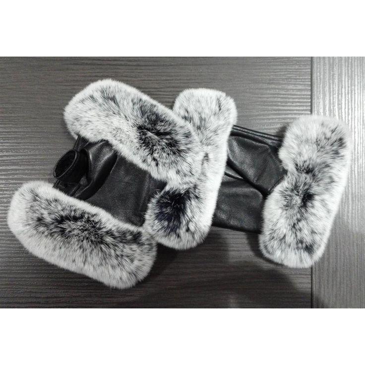 . OBC DAMEN warme Handschuhe echt LEDER echt FELL Kaninfell Kaninchen Winter & Herbst Winterhandschuhe flauschig schwarz weiß grau
