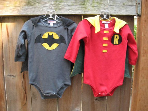 Dress D-Man up as batman then make this Robin onesie for Jackson.....hmmm it's a possibility