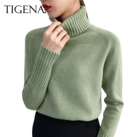 6b6f3e7f0c TIGENA Women Turtleneck 2018 Winter Sweater Women Long Sleeve Tricot Women  Sweaters And Pullovers Female Jumper Winter Tops