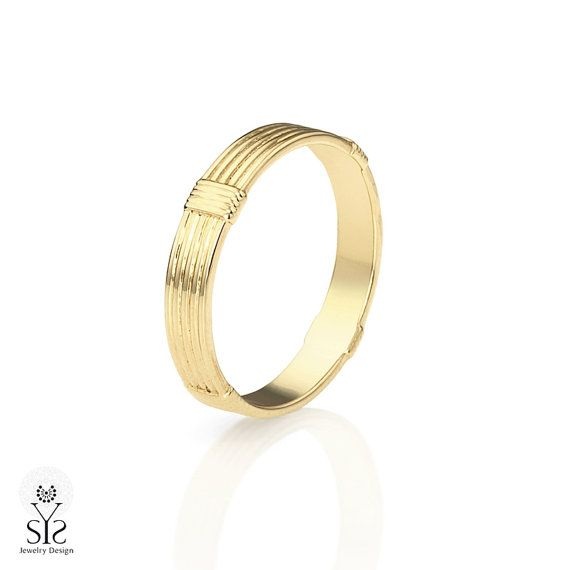 14K yellow gold handmade slim wedding band with stripes texture, or unisex promise ring.