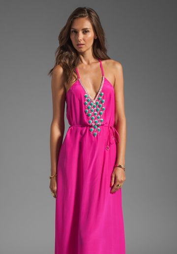 Karina Grimaldi Santa Maria Beaded Maxi Dress in Neon Pink