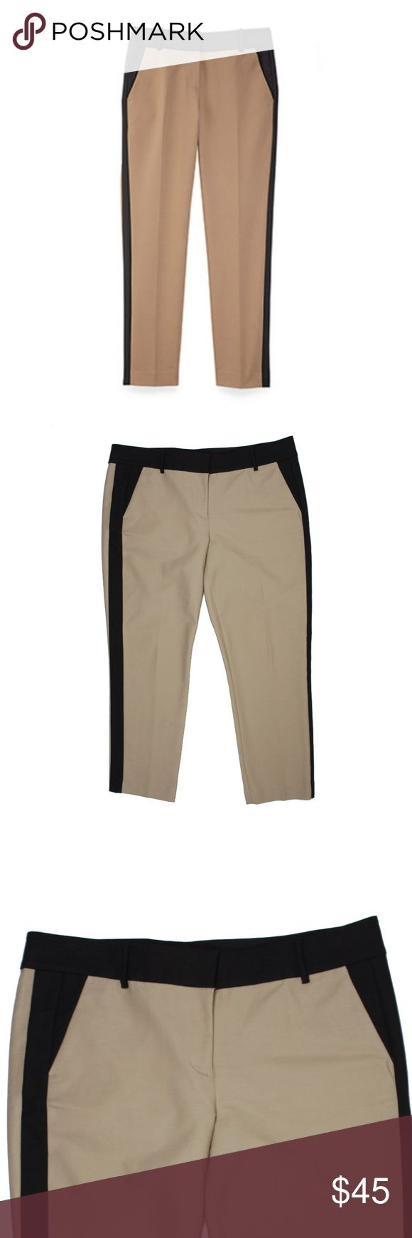 """New ANN TAYLOR Tan Tuxedo Stripe Cropped Pants Size -14  NWOT. These new tan and black tuxedo stripe ants form ANN TAYLOR feature a zip tab closure and cropped inseam. Cotton blend.  Measures:   Waist: 38""""  Rise: 10""""  Hips: 44""""  Inseam: 27"""" Ann Taylor Pants Ankle & Cropped"""