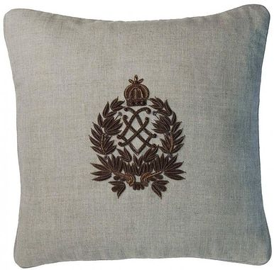 Pillow Zardozi Embroidery 18x18 Down/Feather Insert Linen Down New Hand- CW-1016