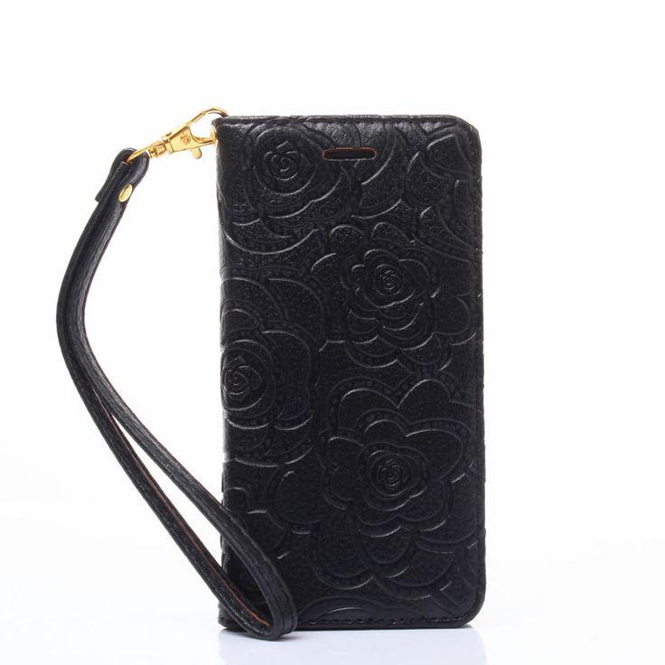 Chanel Camellia Leather Wallet Case iPhone 7 Plus Black ...
