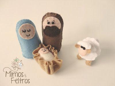 Presépio Mimos e Feltros (José, Maria, Jesus e ovelhinha)