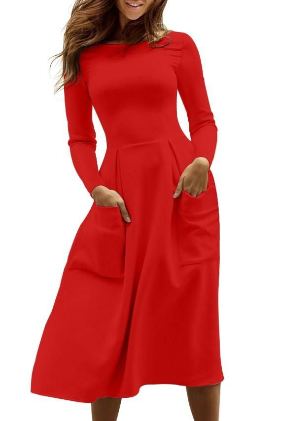 Robe Patineuse Rouge Mi Longue Col Bateau Poches Manches Longues Pas Cher www.modebuy.com @Modebuy #Modebuy #Rouge #style #streetstyle #women #streetfashion