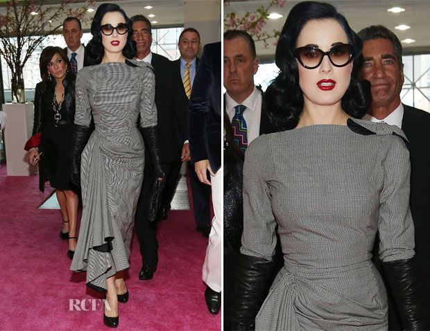 Dita von Teese in John Galliano Spring 1995 micro-checked dress <3 <3 <3 it!!- International Beauty Show