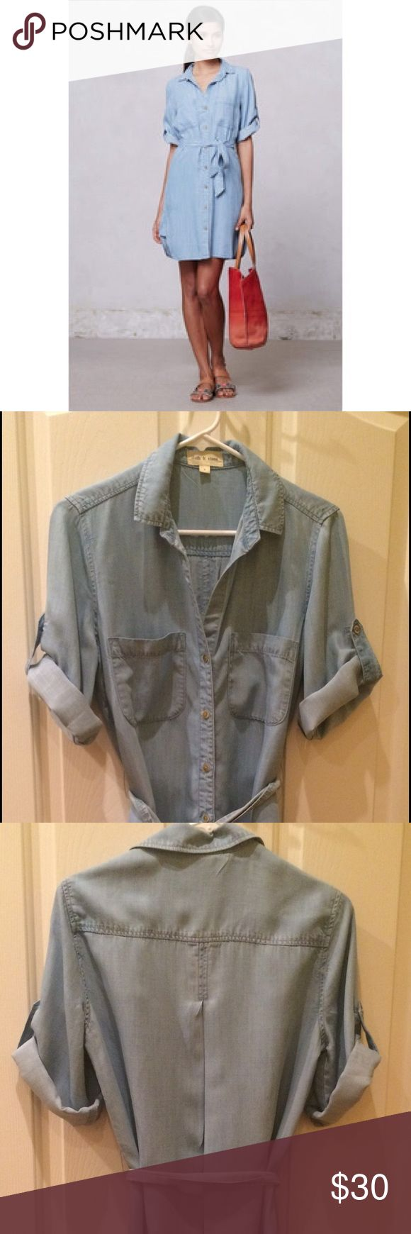 Anthropologie chambray denim shirt dress size sm Anthropologie by cloth and stone light denim button down chambray dress size small. Great condition! Anthropologie Dresses