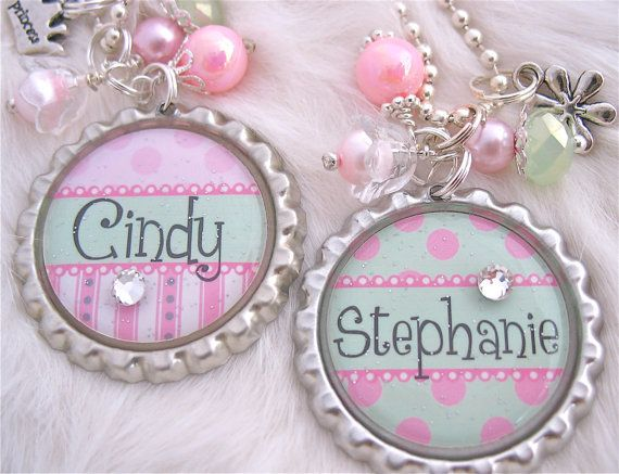 Children's Jewelry Necklace, Bottle cap Necklace, Pink Polka dot, Green Kids necklace http://www.etsy.com/listing/91895828/childrens-jewelry-personalized-bottle