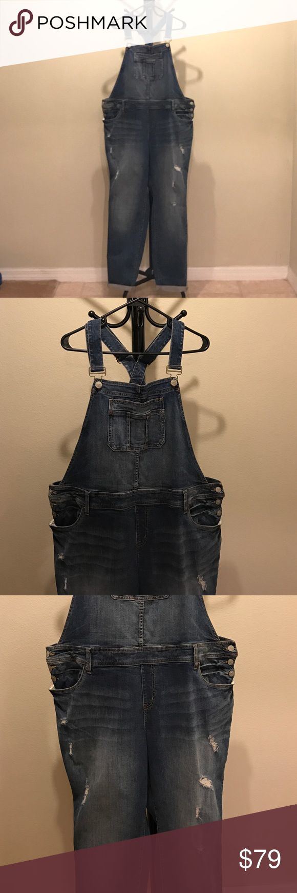 """PRICE FIRM NWT W/ destruction fading overall jeans Medium wash with destruction & fading overall jeans. Size 20 Regular. Mid-rise. ~30"""" inseam. Can wear the legs rolled or straight. torrid Jeans Overalls"""
