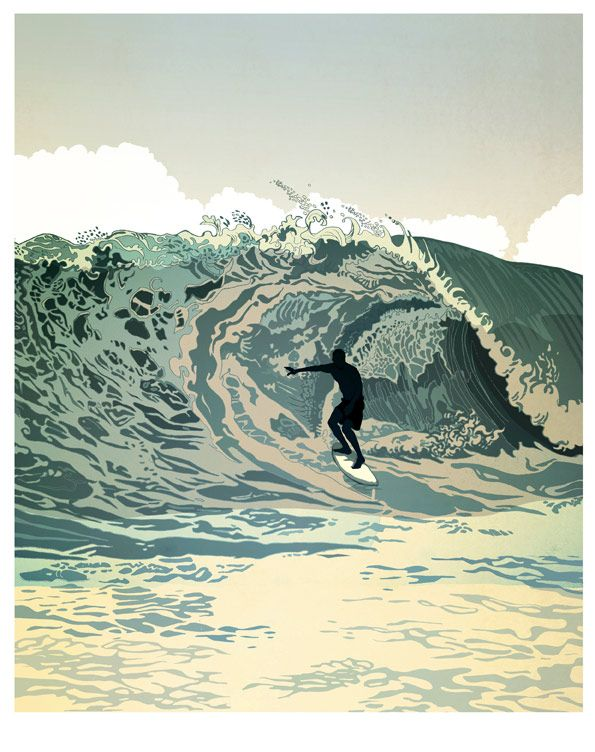 The Curious Exhibition on the Behance Network: Surfs Up, Surf Art, Inspiration, Illustrations, Waves, Design