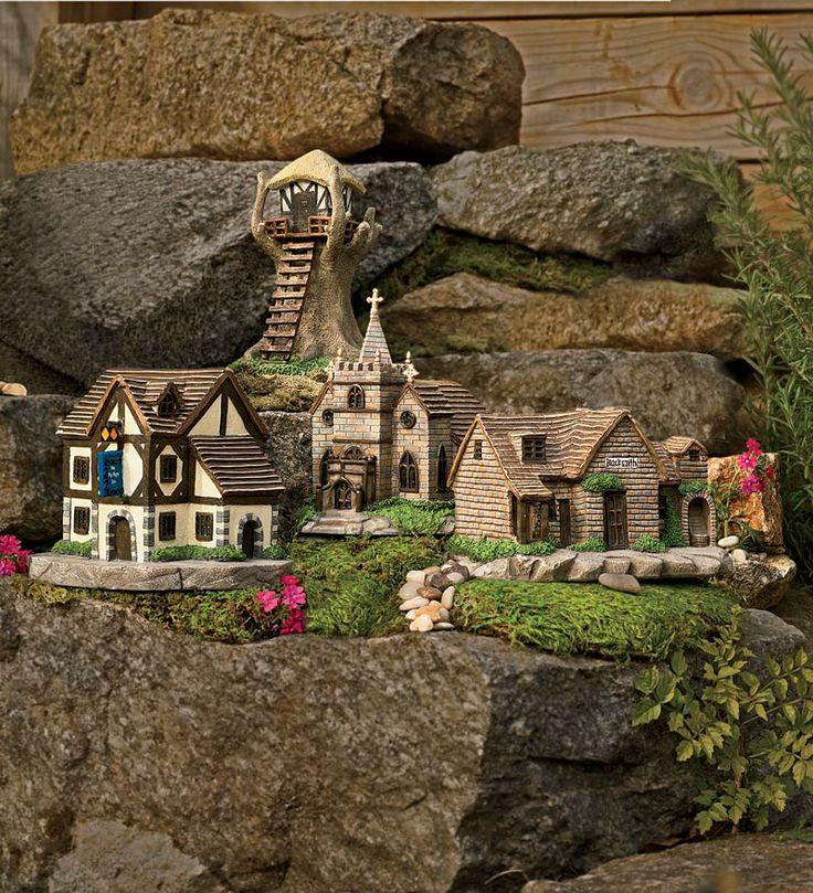 Miniature Polyresin Fairy Village 4 Piece Set Mini Fairy
