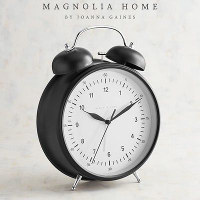 When it's time to get up with the chickens, let this rustic alarm clock get you there on time. No ordinary clock, this one is oversized to really stand out on nightstands, dressers and tables. Part of the Magnolia Home Collection by Joanna Gaines.