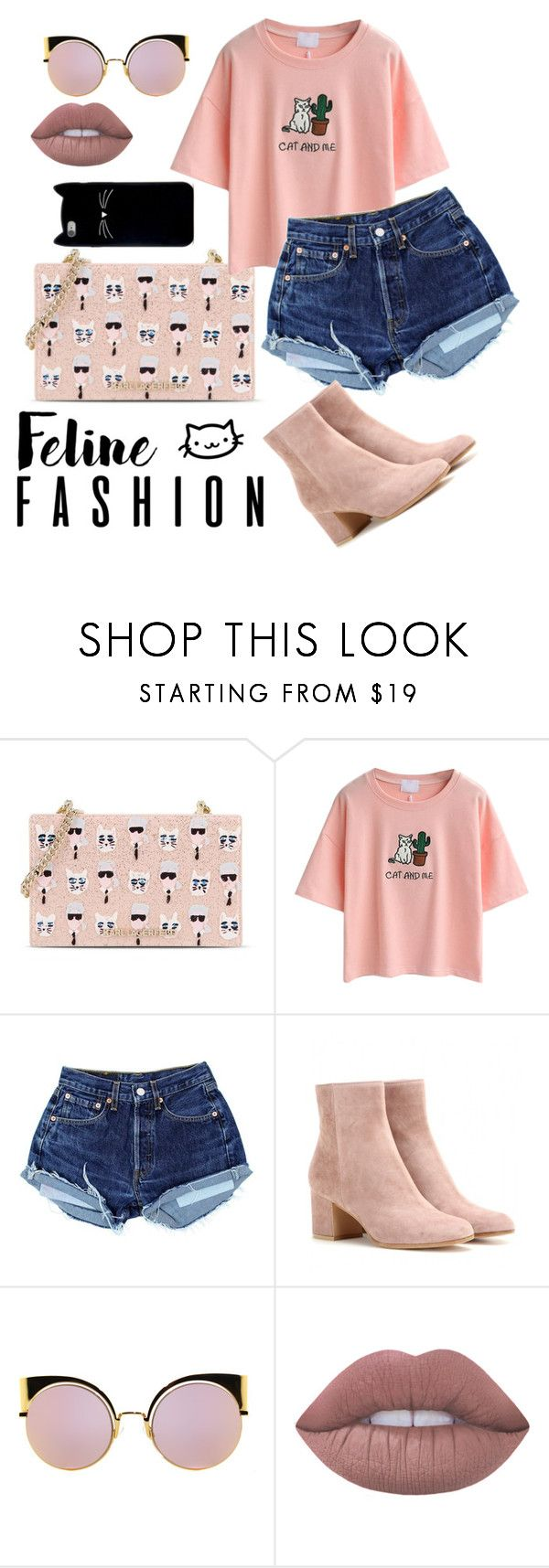 """""""kittyyyy party"""" by beingmyselfaf ❤ liked on Polyvore featuring Karl Lagerfeld, WithChic, Gianvito Rossi, Fendi, Lime Crime and Forever 21"""