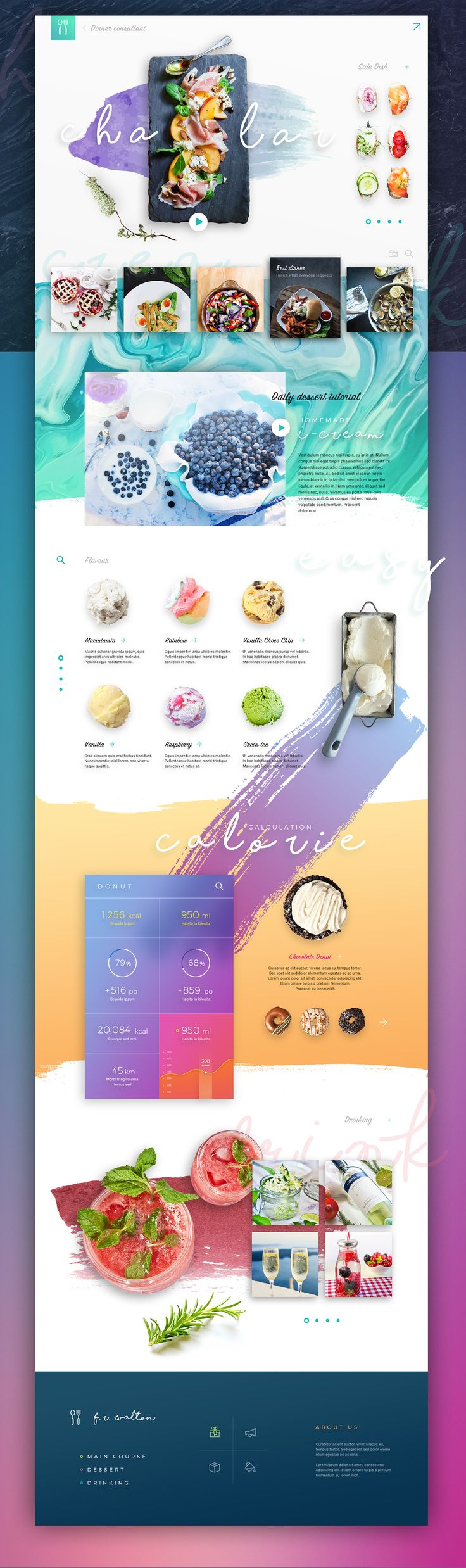 Chalar on Behance - So colorful but it wokrs so well with the content and colorful food.