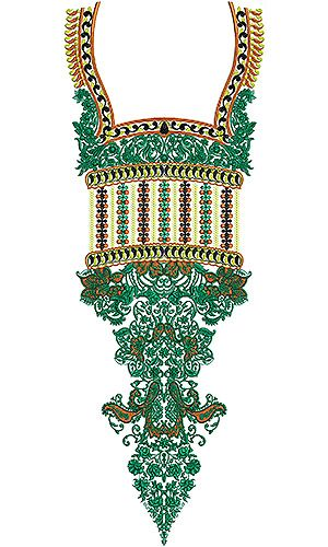Tunisian Dress Boat Neck Embroidery Design