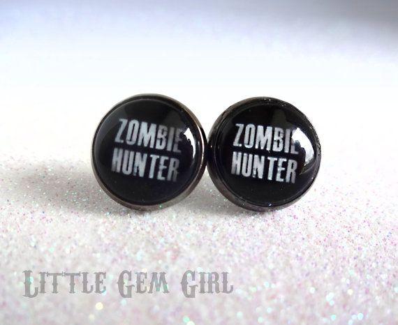 Zombie Hunter Earrings  Zombie Post Earrings  by LittleGemGirl, $16.00