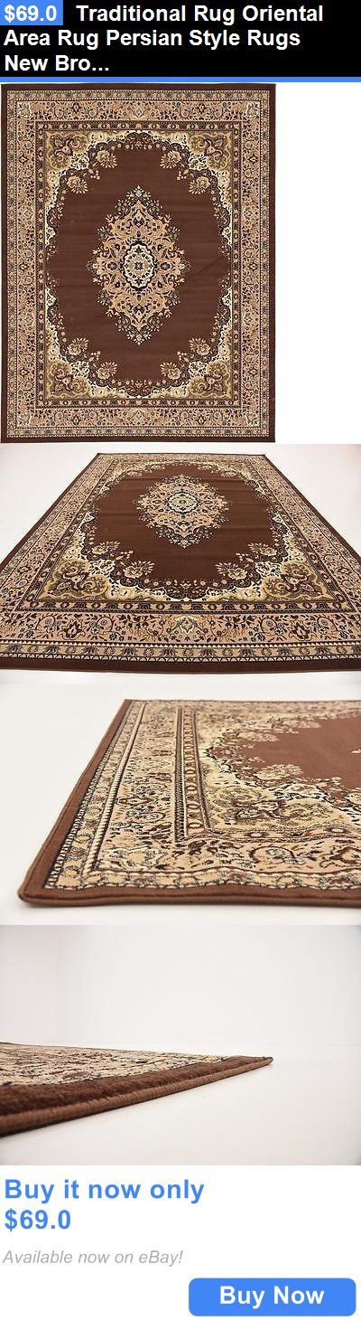 household items: Traditional Rug Oriental Area Rug Persian Style Rugs New Brown Carpet *On Sales* BUY IT NOW ONLY: $69.0