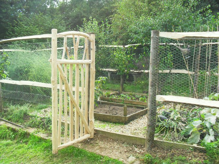 Veg patch Rabbit and Deer fencing and Cottage Garden gate made from Sustainbly managed renewable Sweet Chestnut coppice. Handmade by the Creative Coppice Company.