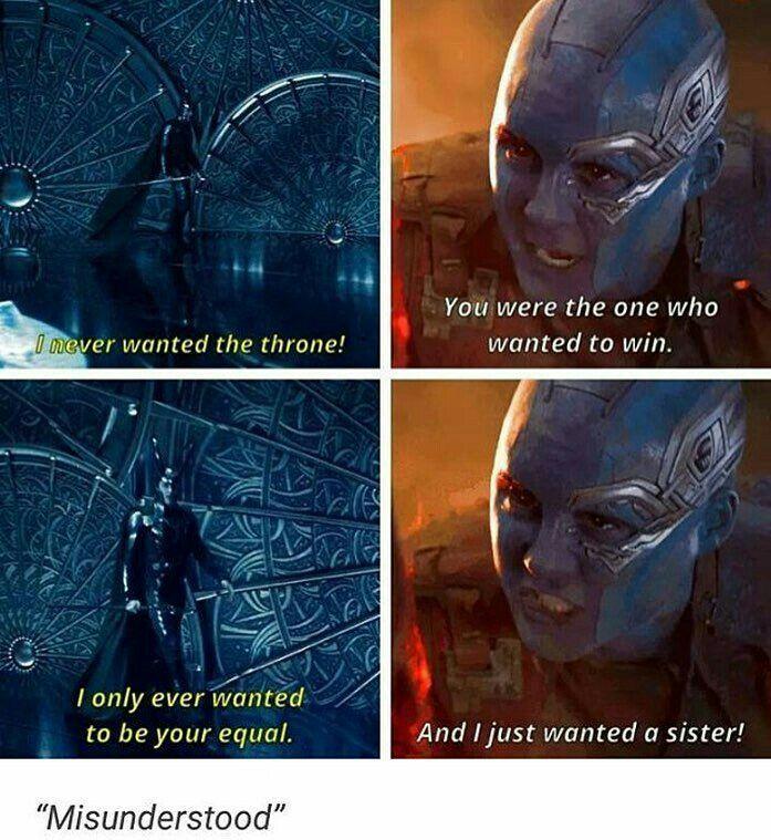 Misunderstood... Something tells me that Nebula and Loki are going to get along very well. Relationship maybe... hmmmmmmm... #Nebuki ?