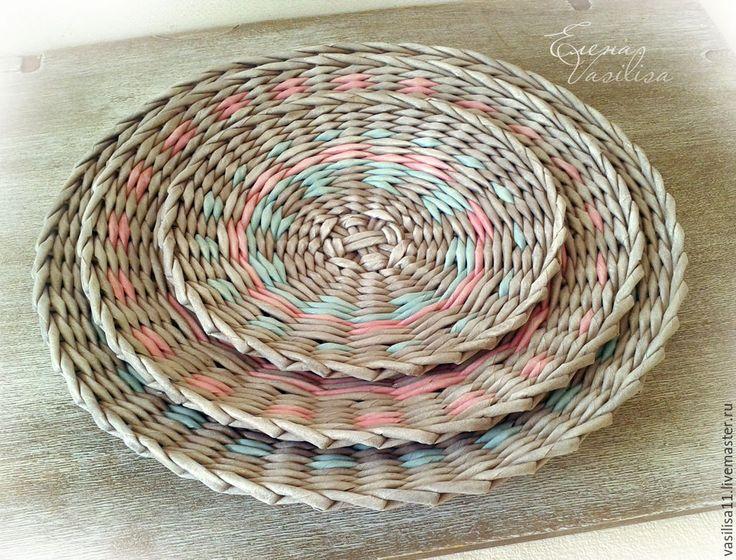 """Купить Тарелочки плетеные настенные """"Атмосферные"""" - настенные тарелки, декоративное панно, декоративная тарелка"""
