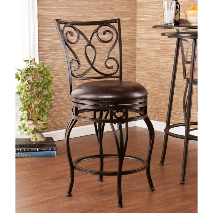30 Bar Stools Black Wrought Iron Wood Swivel Bar Stools With Carved Back And Round Leather  sc 1 st  Pinterest & 15 best barstools images on Pinterest | Dining room chairs ... islam-shia.org