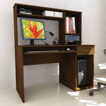 Workspace Computer Desk with Keyboard Tray and Hutch modern-home-office-accessories
