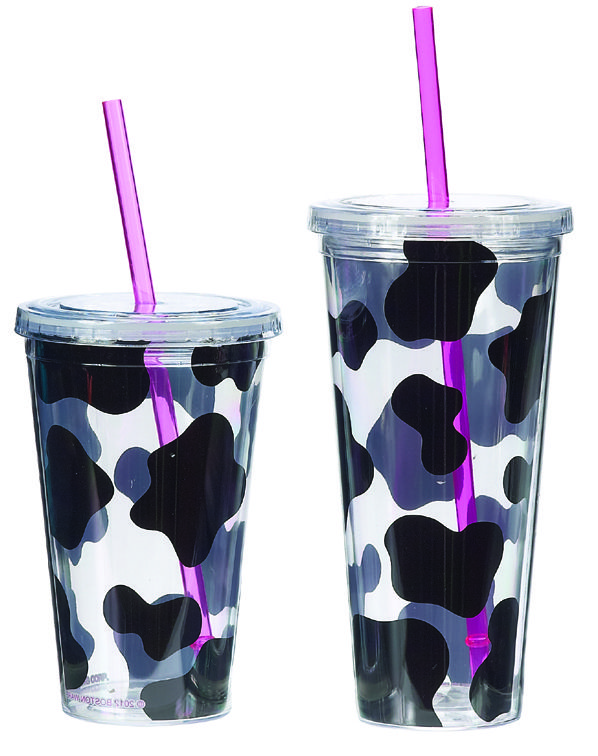 Simply Bovine: Cow Print Tumbler, Insulated Plastic Cow Glass with Straw, Cow Kitchen