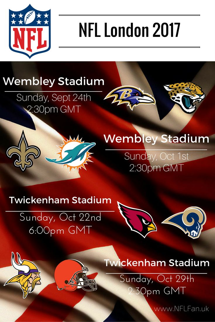 NFL London 2017 game times and venues.