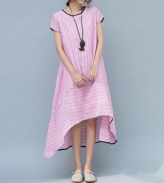 """【Fabric】 Linen, cotton 【Color】 Light blue,light pink 【Size】 Shoulder 39 cm / 15.2""""  Bust 108cm / 42 """"  Sleeve 10cm / 3.9 """" Length 93-114cm / 37-45 """"   Have any questions... #asymmetric"""