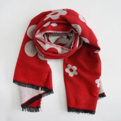Redcurrent Red/Grey Floral Pop Scarf