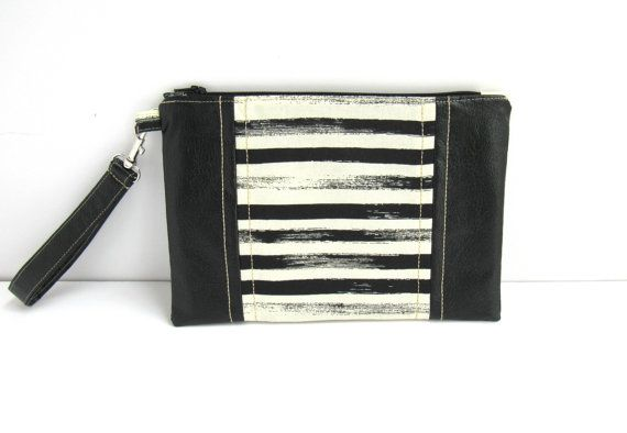 Black and white stripe clutch | Black leather clutch | Striped wristlet | Zipper pouch | Makeup bag