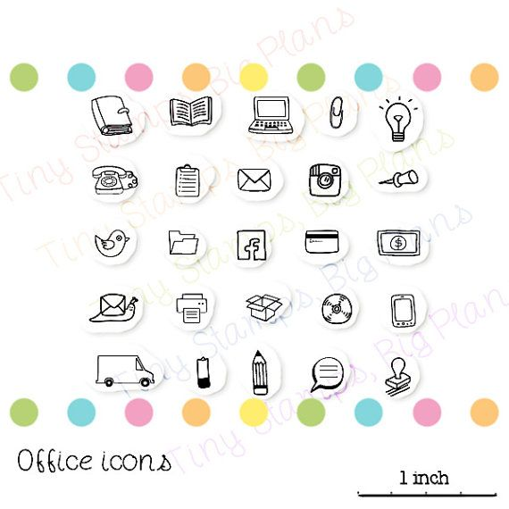 Planner stamps  Office icons  last ones for by TinyStampsBigPlans