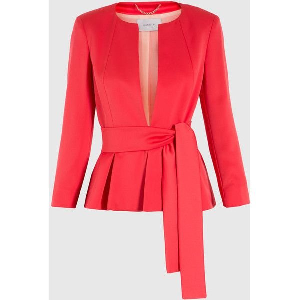 Satin jacket ($280) ❤ liked on Polyvore featuring outerwear, jackets, satin jackets, red jacket and red satin jacket