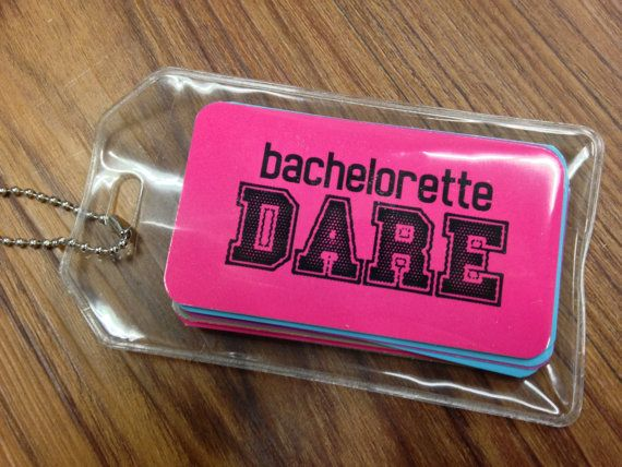 Oh these are going to be fun!!!   20 Dare Cards  Bachelorette Party Game  by DeighanDesign on Etsy, $20.00