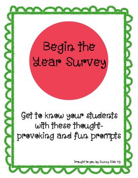 "Get to know your students faster with this fun questionnaire.  Created with elementary students in mind, the questions are short and to-the-point.Have your class complete these prompts, and you'll have a ton of conversation starters, possible future writing prompts, and a few laughs to share during those first few nervous days!The first page includes prompts like: ""Outside of school, I'm great at"" and ""At school, something I want to get better at is..."" The second page allows students to be…"