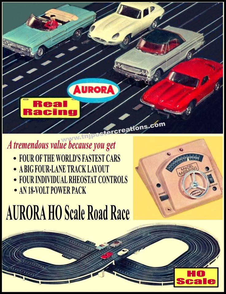 Real Racing with Aurora HO scale slot car road race sets! Poster courtesy of www.tnjpostercreations.com