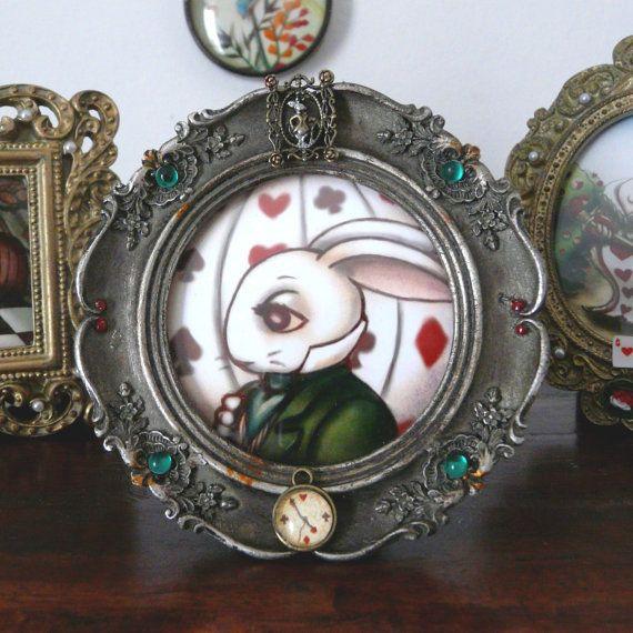 Wonderland decorations, White Rabbit Alice in Wonderland, steampunk decorations, victorian, big eyes, original illustration in custom frame