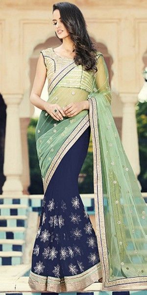 Admirable Navy Blue And Green Georgette Saree With Blouse.