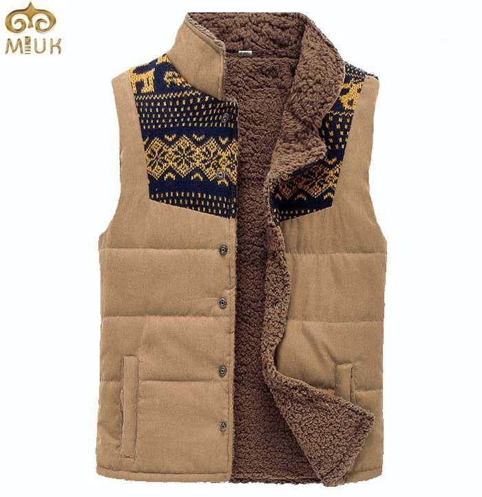 Вязать лоскутное модный дизайн хлопок жилет большой размер 4XL 5XL толстые мужская зимняя одежда хаки