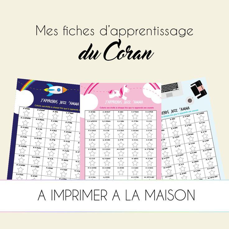 FREEBIES : Mes fiches d'apprentissage du Coran GRATUITES - Free Quran Learning Sheets par Kariizmaa Design